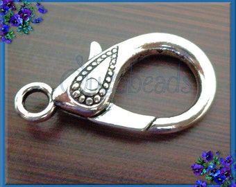 4 Large Decorative Antiqued Silver Lobster Clasp 31mm