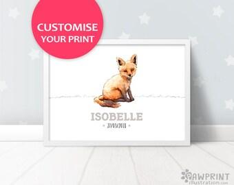Fox Nursery Name Decor, christening gift baby name print, baby girl woodland nursery art baby shower gift, fox baby boy name reveal