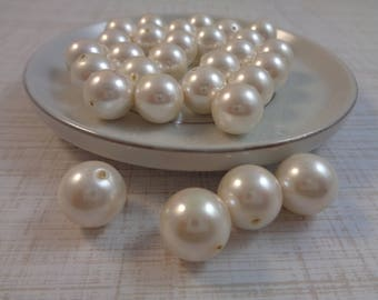 16 Bright White Freshwater Pearl Beads 12mm Round Satin Bright White Round Smooth Freshwater Pearls White Opaque Pearl Beads Large #T1291