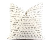African White Mudcloth Pillow Cover, Boho Pillow, White, Black, Ethnic, Textile, Handwoven, 15x23, SKU03301