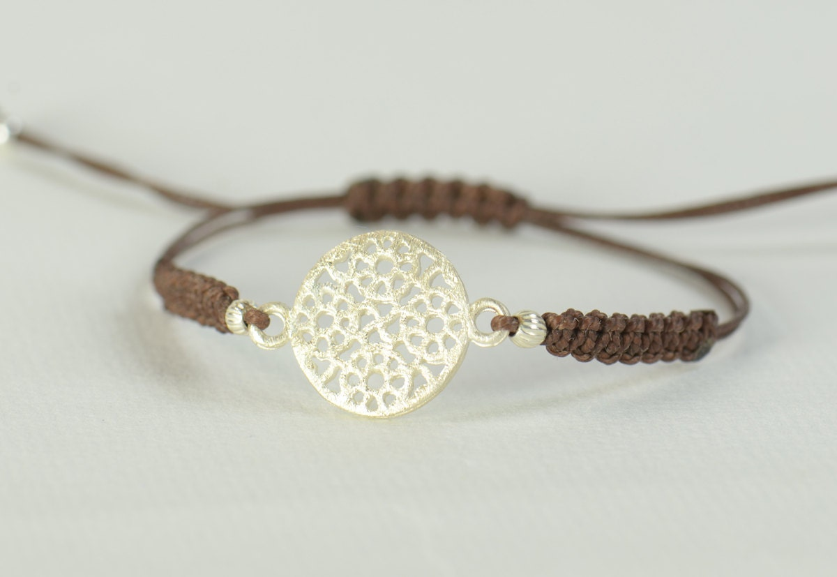 leather mandala bracelet mandalabracelet and silver front product personalised