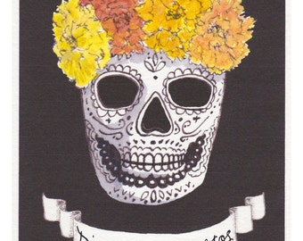 Dia de los Muertos hand colored print of original artwork -  Day of the Dead Skull Calavera with Marigolds OOAK