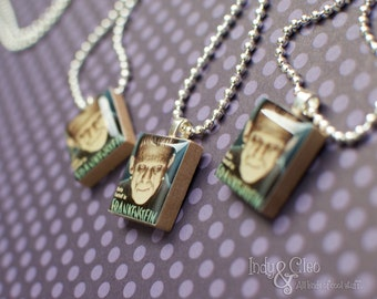Classic Movie Monster Scrabble Necklace, FRANKENSTEIN Handmade Scrabble Tile Pendant, Wood Pendant, Monster Postage Stamp, Halloween Pendant