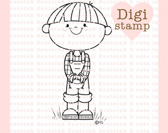 Boy and Frog Digital Stamp for Card Making, Paper Crafts, Scrapbooking, Hand Embroidery, Invitations, Stickers, Coloring Pages