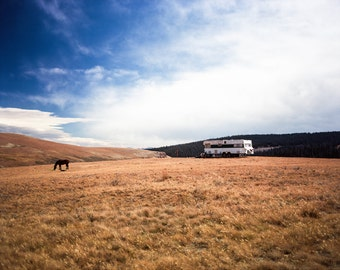 Horse and Cowboy Camp, Wyoming Photography, Western Landscape, Fine Art Print, Film Photo, Wild West Photography, Bighorn Mountains Sheep