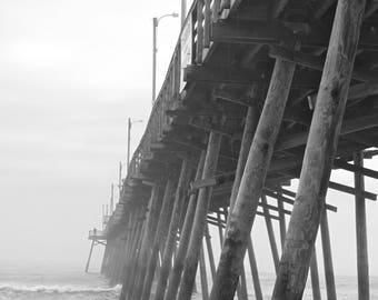 Ocean Fog Art Print, Photography Black and White Gray North Carolina Pier Beach Landscape Nautical Art Wall Decor Wall Art