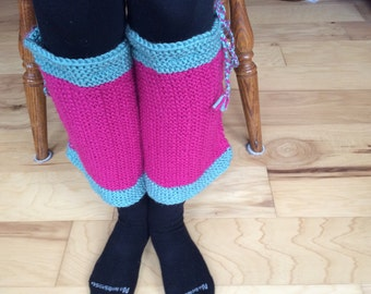 Berry Warm Leg Warmers Hand Knit