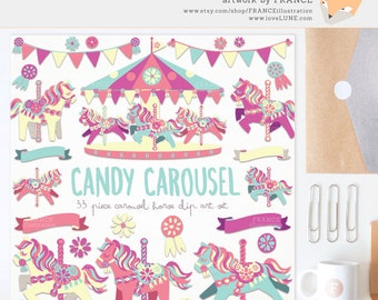 3 FOR 2. Bright Candy Carousel Horse Clipart. Little Pony. Cute Childrens Scrapbook Party. Banner. Pink, Mint, Yellow. Bunting, Decorative.