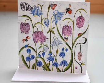 Snakeshead Fritillary Card - garden card, flower card, snakeshead card, flowers birthday card, blank inside card, flower art card, flowers