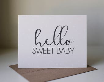 Hello Baby Card, New Baby Card, New Baby Girl Card, New Parents Greeting Card, Pink Baby Greeting Card, New Baby Girl, New Arrival Card