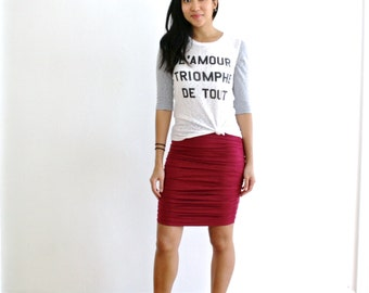 Organic Pencil Skirt, Eco Pencil Skirt, Organic Cotton, Bamboo Jersey Skirt, EcoFriendly Ruched Skirt, Organic Skirt - SALE, CLEARANCE