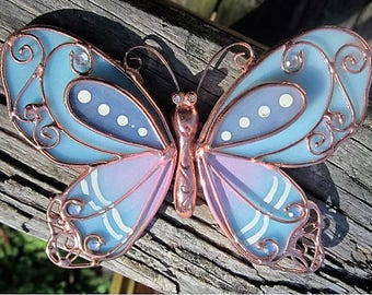 Blue Butterfly Stained Glass with Coppertone Edging