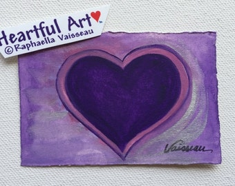 Heart of A Mystic ACEO Original Watercolor Painting ATC Heart Artist Trading Card Love Friendship Gift Heartful Art by Raphaella Vaisseau