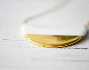 22k Gold Dipped Wave - White, Porcelain Jewelry, Wedding Jewelry, Ceramic jewelry, minimalist jewelry, gold jewelry - Porcelain and Stone