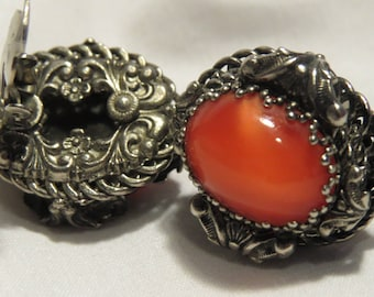 Oval Clip on Earrings, Very Retro Coral Color