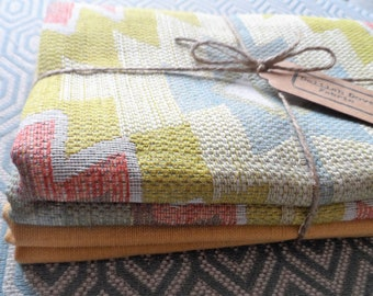 Kilim Style Woven Fabric with a co-ordinating Cotton Woven Fabric.