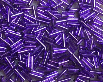 Violet Silverlined Japanese Glass Bugle Beads 6mm Silver Lined Mixed Colors 28 grams
