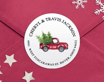 Address Labels / Christmas Truck Round Return Address Labels / Custom Address Labels / Address Sticker / Address Label Sticker / Cheryl