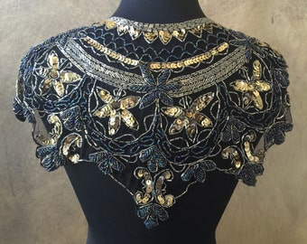 Sequin Glass Beaded & Sequin Wrap AB Black Lace Collar Shoulder Shrug Shawl Applique Peacock Gold