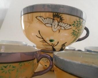 Vintage Teacups - Dia Nippon - Japan - Egg Shell Porcelain - Bird Design