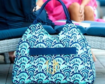 Making Waves Beach Bag -Monogram Beach Bag-Embroidered Beach Bag-Personalized-navy and teal