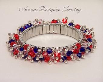 Red, white & blue Swarovski crystal cha-cha bracelet