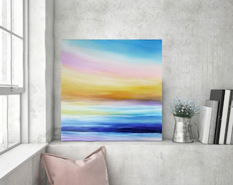 Sunset painting, Beach painting, Seascape art, Ocean painting, Painting on canvas, Abstract seascape art, Modern art, Home decor, Sea art