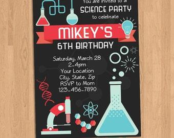 Science Birthday Party Invitation Printable