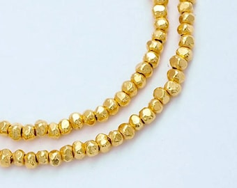 "110 of Karen hill tribe  24k Vermeil Style Faceted Seed Beads 1.8x1 mm. 6"" :vm0567"