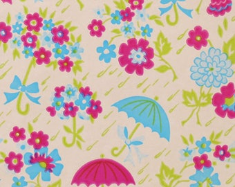 Vintage Tuttle SHOWER Wrapping Paper - Gift Wrap - Bright UMBRELLAS and FLOWERS - 1960s