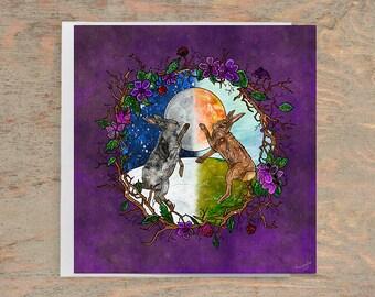 OSTARA'S DANCE Greeting Card, Spring Greeting Card, Ostara Postcard, Hare Card, Ostara Greeting Card, Pagan Greeting Card, Nature, Seasonal