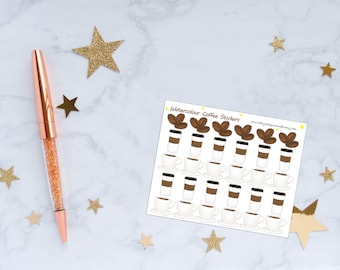 Watercolour Coffee Planner Stickers, Coffee Stickers, Watercolour Stickers, Vinyl Stickers