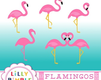 Pink FLAMINGO, clipart, flamingos, silhouette, standing, commercial use, images, clip art, illustration, Instant Download