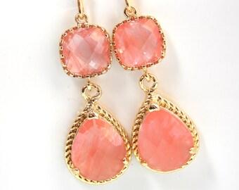 Coral Earrings, Peach Earrings, Grapefruit, Gold, Wedding Jewelry, Bridesmaid Jewelry, Bridesmaid Earrings, Bridal Jewelry, Bridesmaid Gifts