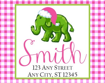Christmas Address Labels, Christmas Elephant Pink Gingham Square Stickers Gifts, Address Labels, Preppy Labels, Bookplate, Class Parties