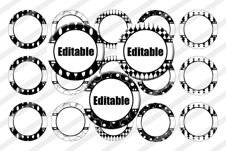 Editable Bottle Cap Images 1 inch circle image sheet