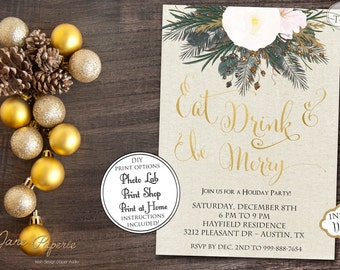 INSTANT DOWNLOAD - Gold Glitter Floral Christmas Invitation - Eat Drink be Merry Invite - Holiday Party Invitation - Floral Christmas