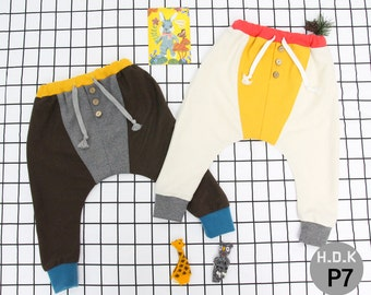 Baby sewing  pdf pattern/ kids baggy pants with button/ children clothing/Toddler sewing pattern/ 6month-11years