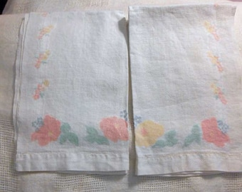 2 PASTEL ROSES GUEST Tea Towels Printed Soft Texture White Cotton, Girlie Spring Blue Pink Yellow Green, Dbl Hems 1950 Powder Room Pretties