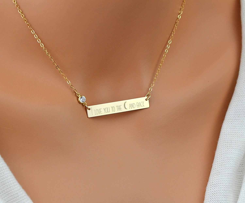 Diamond Cz Bar Necklace Large Bar Necklace Three Name