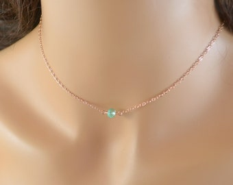 Rose Gold Choker Necklace, Aqua Apatite Gemstone, Simple, Minimalist, Layering Necklace, Dainty Summer Jewelry, Free Shipping