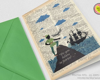 Peter Pan Do You Believe in Fairies Greeting Card - 4x6 inches - Invitation card- Stationery card-design by NATURA PICTA NPGC008