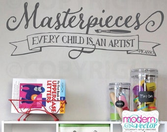 Masterpieces Picasso Quote Every child is an Artist Vinyl Wall Decal Lettering Playroom Art Room Nursery