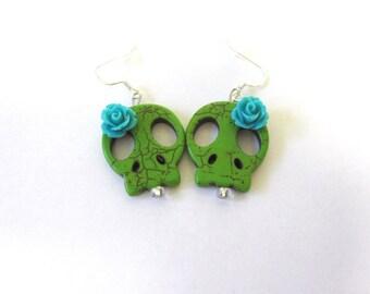 Day Of The Dead Earrings Sugar Skull Jewelry Green Blue