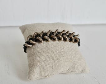 Black Leather Braided Chevron Bracelet with Silver Rings ... by  B A L O O S
