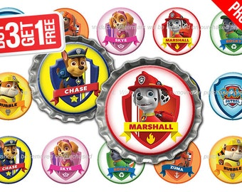 Paw Patrol Bottle Cap Images - 1 inch size - Suitable for Hair Bows, Magnets, Scrapbooking, Stickers etc - High Resolution Images (006)