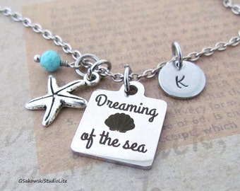 Dreaming of the Sea Starfish Charm Necklace, Personalized Hand Stamped Initial Monogram Birthstone Nautical Necklace