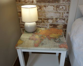 Map Print Bedside Table
