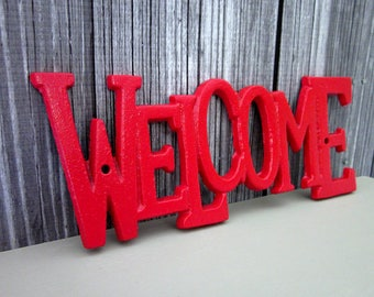 Welcome Plaque, Cast Iron, Bright Red, House Sign, Painted, Welcome Sign, Door Sign, Metal Welcome Sign, Indoor, Outdoor, Wall Decor