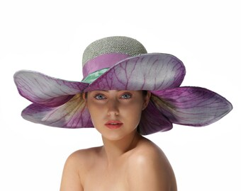 Blue and Purple Sun Hat, Floral Summer Hat